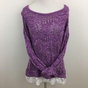🆕 Purple Knit & Lace Sweater Top